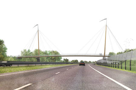 Wooden cable-stayed bridge over A28 near Harderwijk
