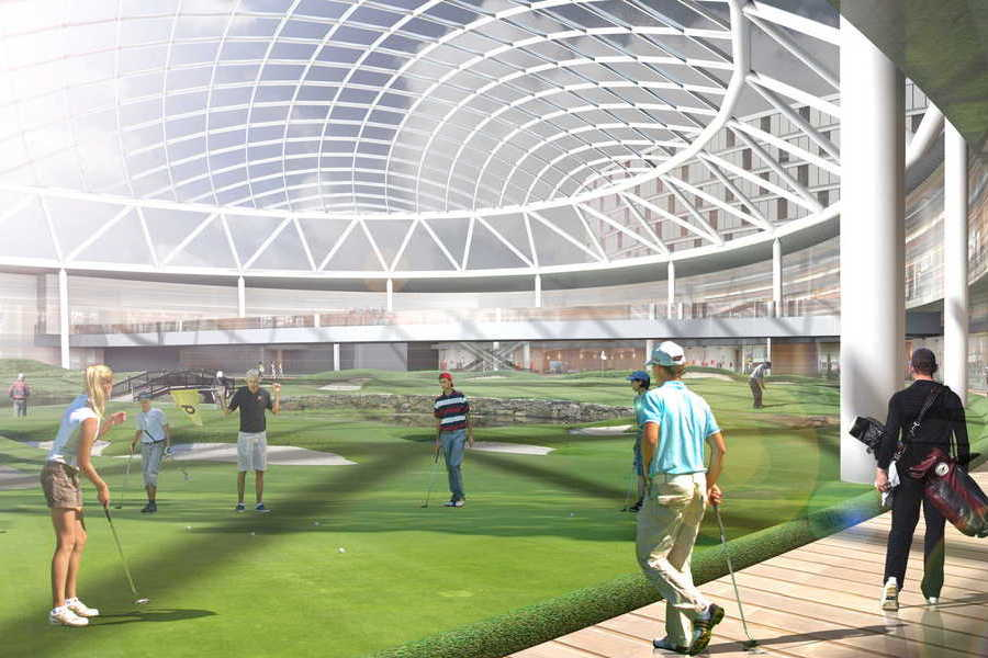 Indoor golf arena