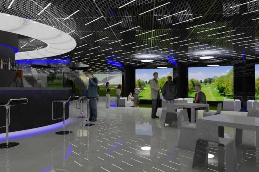 Indoor golf simulator area