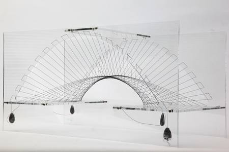 Large-scale designs for mixed fabric and cable-net formed structures